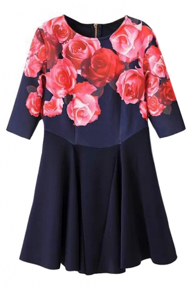 Zip Back Half Sleeve Red Rose Print Patchwork Short Dress