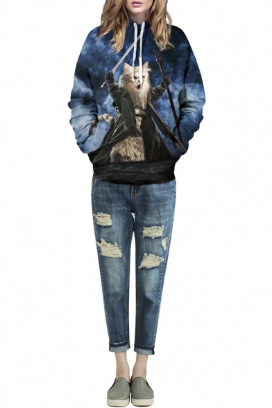 Blue Magic Cat Print Long Sleeve Hooded Sweatshirt
