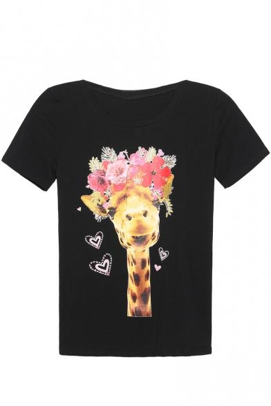 Giraffe & Floral Print Short Sleeve Round Neck Tee
