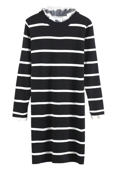 Lace Patchwork Long Sleeve Stripes Round Neck Knit Midi Dress