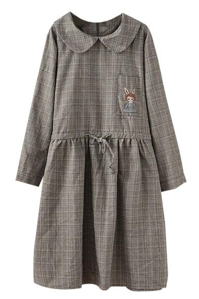 Little Girl Embroidery Doll Collar Plaid Drawstring Waist Dress