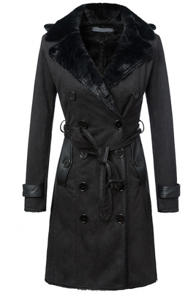 Notched Lapel Double Breasted Belt Waist Velvet Lining Suede Coat