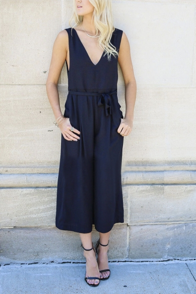 edea4af0861a4 V-neck Sleeveless Plain Wide Leg Cropped Jumpsuit with Belt -  Beautifulhalo.com