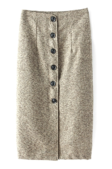 Button Down Front Plain Tube Tweed High Waist Maxi Skirt