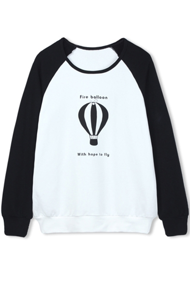 Fire Sweatshirt Balloon Color Sleeve Block Print Raglan Sq6S7