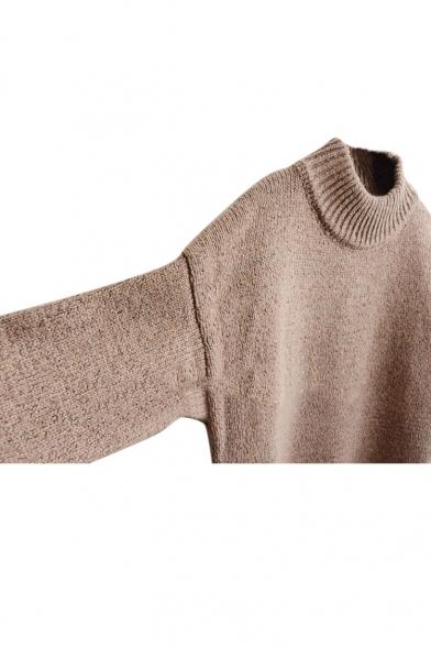 High neck Plain Turn Up Cuff Thicken Longline Sweater