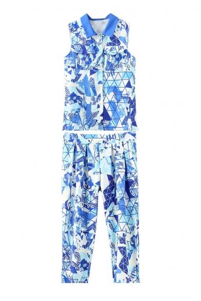 Lapel Geometric Print Sleeveless Shirt with Cropped Harem Pants