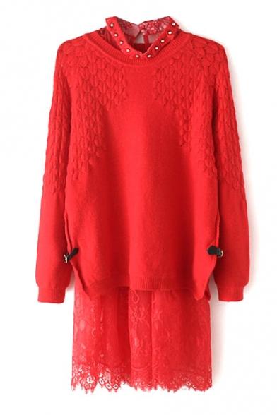 Plain Lace Patchwork Round Neck Beading Split Side Two-Piece Knit Dress