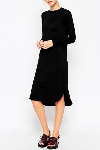 4c620a4daec7 Plain Long Sleeve Curved Hem Midi T-Shirt Dress - Beautifulhalo.com