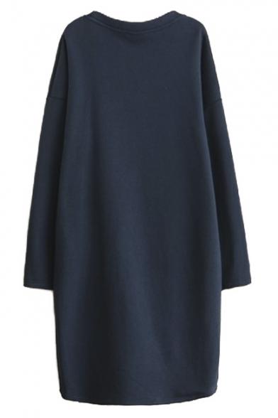 573f379837 ... Queen Print Long Sleeve Navy Velvet Plus Maxi Sweatshirt Dress ...