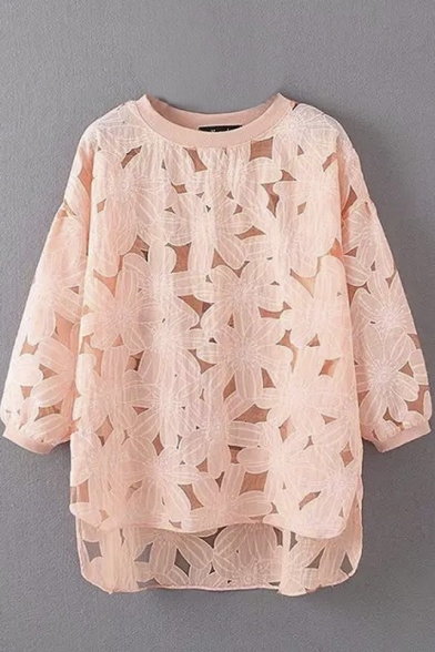 Round Neck Long Balloon Sleeve Lace High Low Blouse
