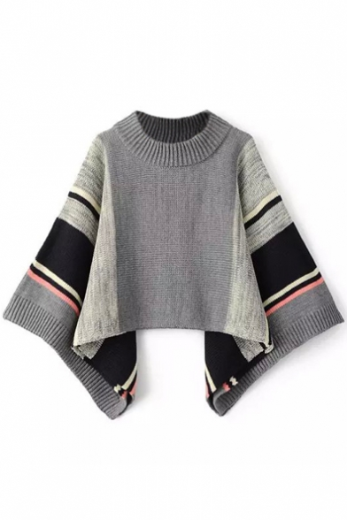 Smock Neck Batwing Sleeve Stripes Color Block Cape