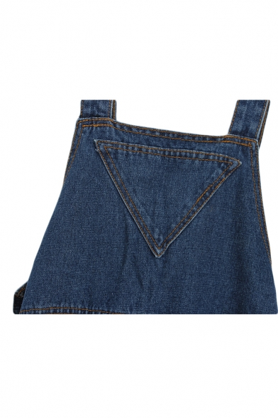 Three Buttons Side Pocket Detail Plain Loose Overall Jeans