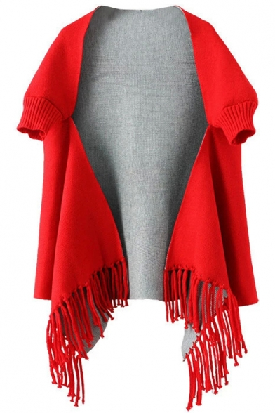 Asymmetrical Tassel Hem Half Sleeve Plain Long Shawl