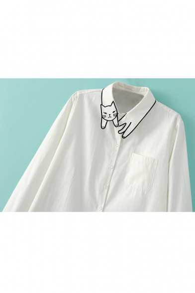 Cat Embroidery White Button Down Single Pocket Shirt