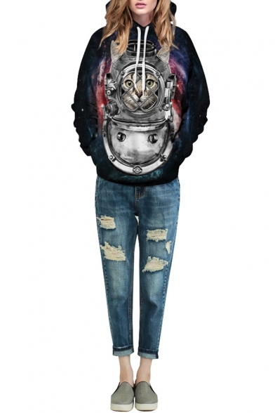 Galaxy Cat Warrior Print Hooded Loose Sweatshirt