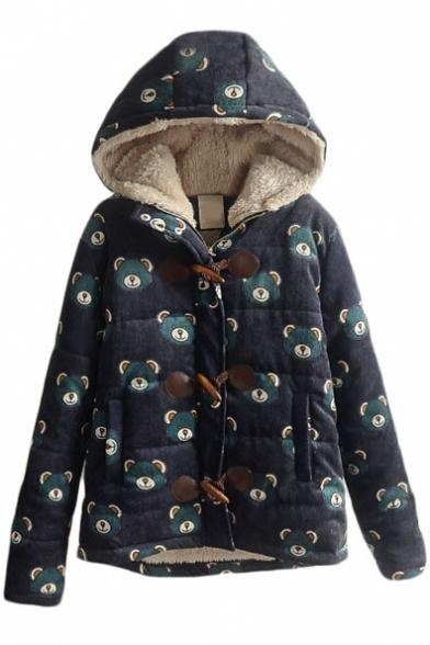 Horn Button Down Cartoon Bear Print Wool Lining Hooded Coat