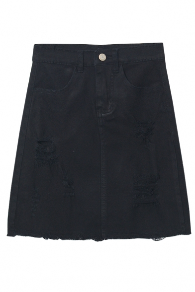 Plain Zipper Front Ripped Raw Edge A-Line Denim Skirt
