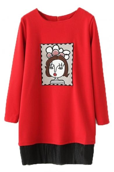 Round Neck Cartoon Girl Patchwork Tassel Hem Midi Dress