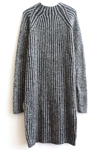 Knitting Vertical Stripes In The Round : Round neck plain raglan long sleeve vertical stripes knit