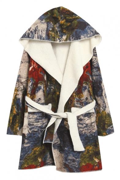 Suede Lamb Wool Lining Graffiti Floral Print Belt Waist Coat