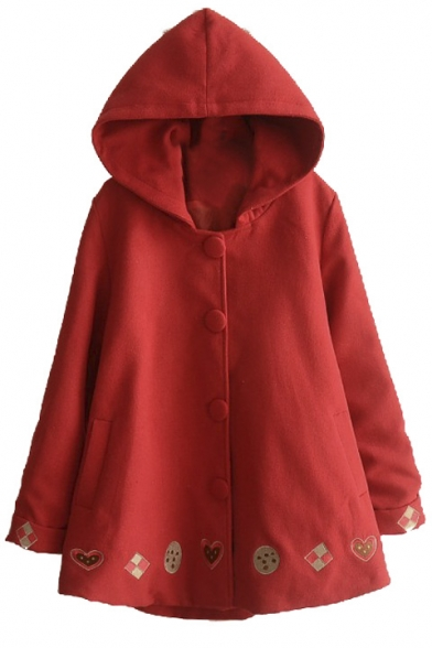 Up Cartoon Turn Hooded Cuff Patterned Loose Long Coat Tweed R4tUUqwxd