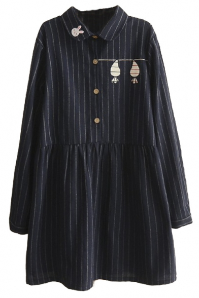 Lapel Button Front Cartoon Embroidery Vertical Stripes Smock Dress