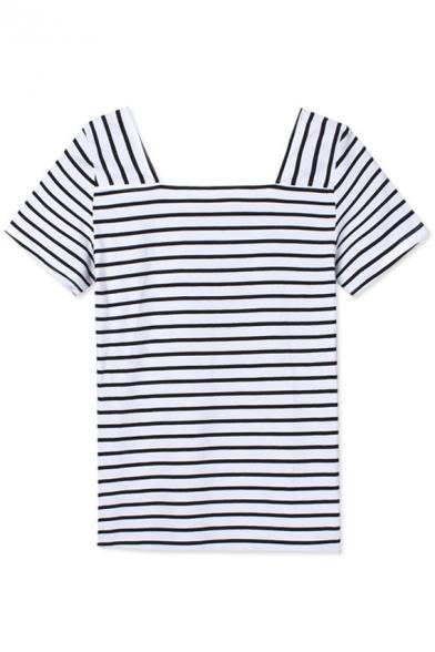 Square Neck Short Sleeve Stripes Slim Tee