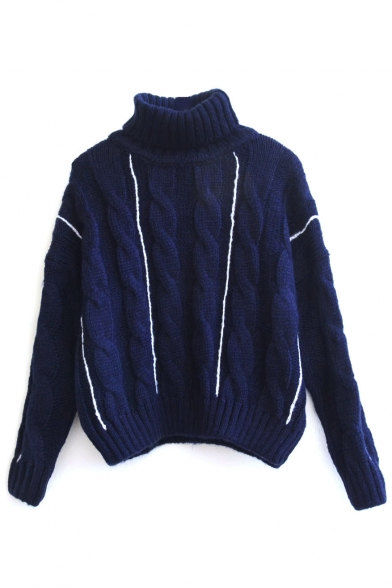 Turtleneck Cable Knit Vertical Stripes Long Sleeve Sweater