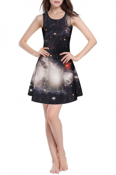 Black Galaxy Print Slim Sleeveless Round Neck Dress