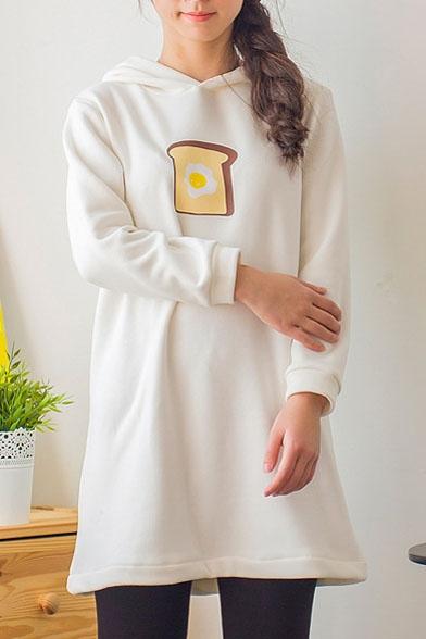 Bread Print Long Sleeve Hooded Tunic Velvet Plus Sweatshirt