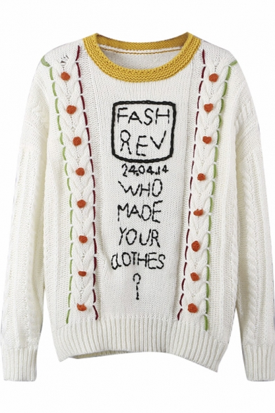 Contrast Neck Ball & Letter Jacquard Cable Knit Sweater