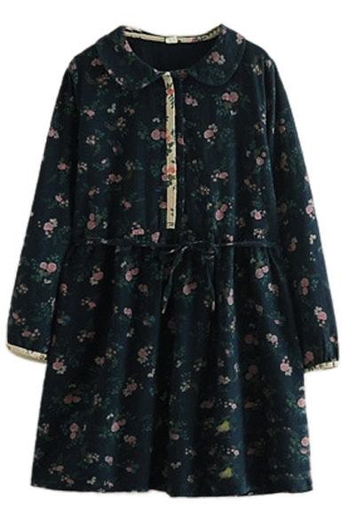 Doll Collar Vintage Floral Print Long Sleeve Drawstring Waist Dress