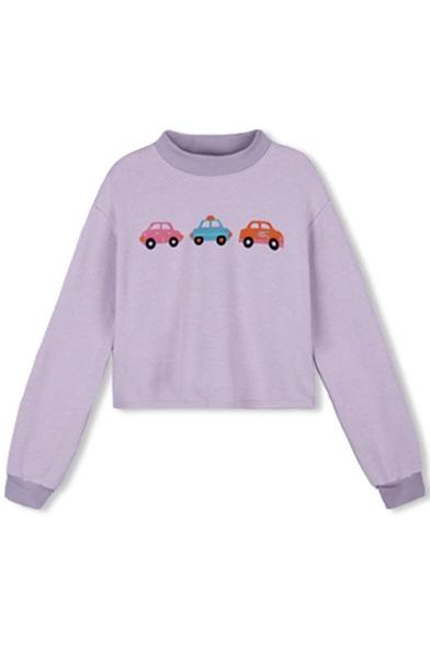 Baycheer / Round Neck Long Sleeve Cropped Car Print Sweatshirt