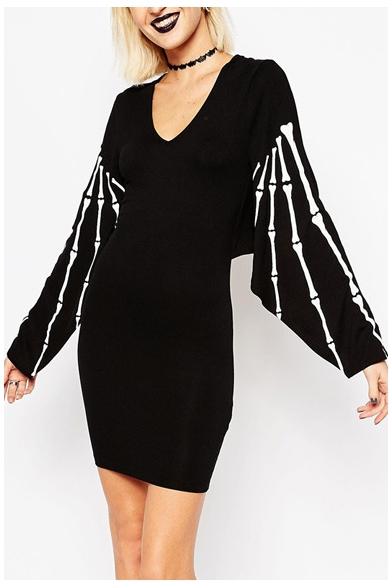 V Neck Skull Print Batwing Long Sleeve Black Bodycon Dress