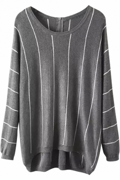 Vertical Stripes Zip Back Gray Dip Hem Loose Long Sweater