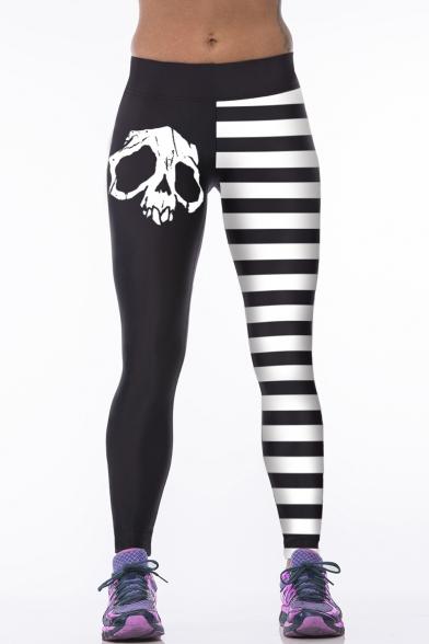 Color Block Skull Print Stripes Elastic Waist Leggings