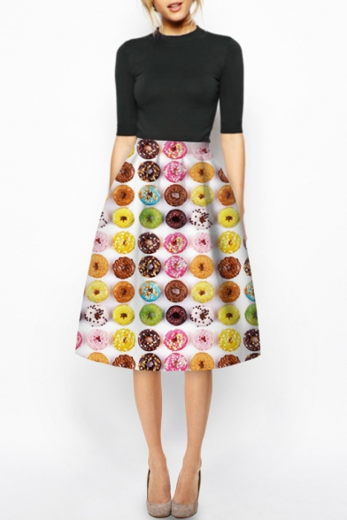 Colorful Donuts Print High Waist Midi A-Line Skirt - Beautifulhalo.com
