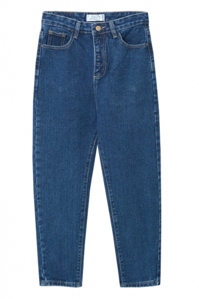 High Waist Loose Tapered Plain Zipper Fly Jeans