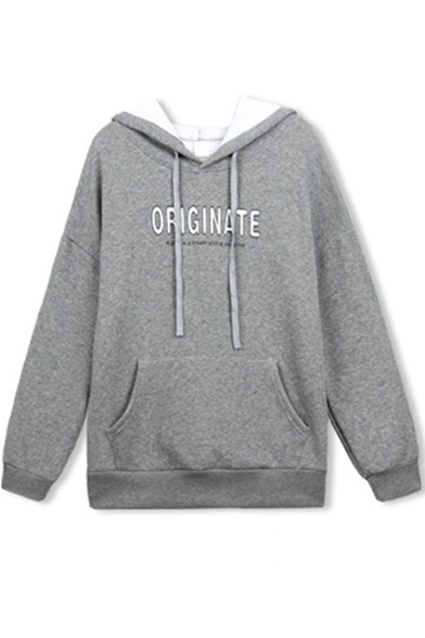 Hooded Letter Print Drawstring Detail Sweatshirt