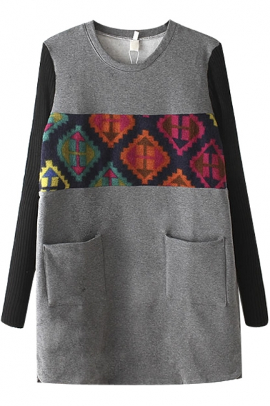 Knit Long Sleeve Patchwork Geometric Print Pockets Mini Dress