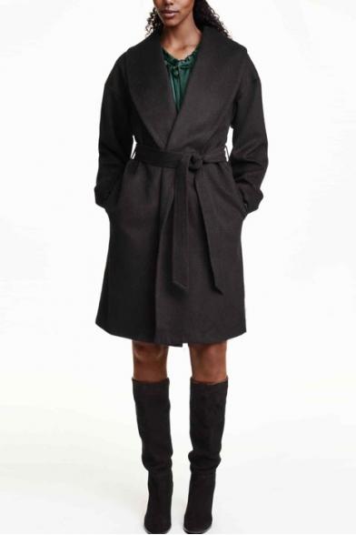 Lapel Open Front Long Sleeve Plain Belt Waist Tweed Long Coat