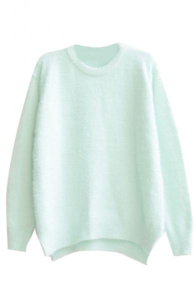 Mohair Plain Long Sleeve Round Neck Sweater