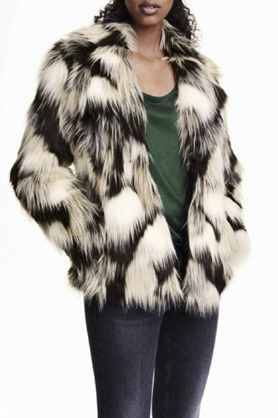 Notched Lapel Tie-Dye Color Block Faux Fur Coat