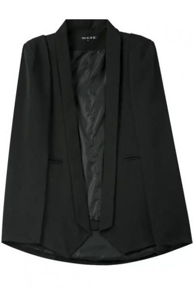 Plain Lapel Shoulder Padded Open Front Blazer