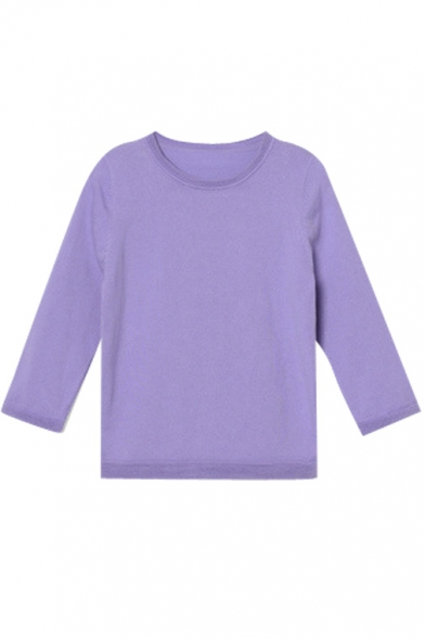 Plain Round Neck 3/4 Length Sleeve Slim Sweater