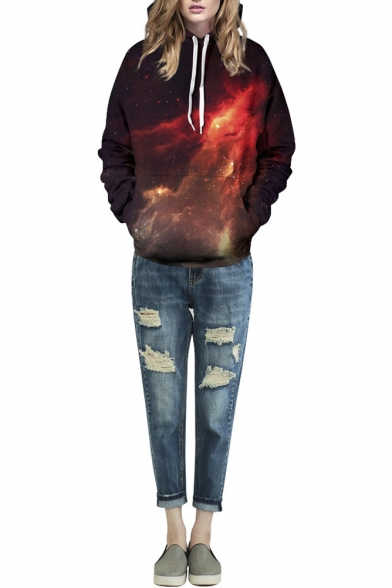 Red Galaxy 3D Print Hooded Loose Long Sleeve Sweatshirt