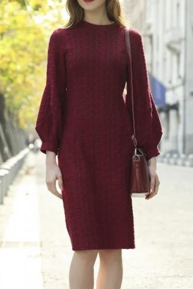 Round Neck Balloon Sleeve Split Back Slim Plain Knit Dress