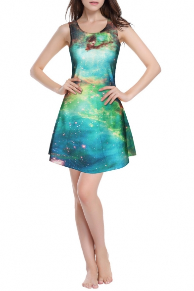 Round Neck Green Galaxy Print Fit Mini A-Line Dress