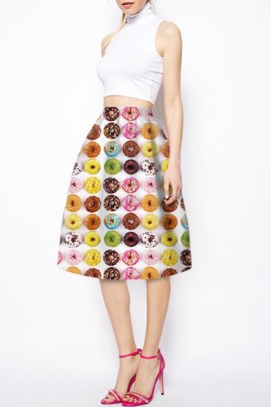 7d96c3b370e8 Colorful Donuts Print High Waist Midi A-Line Skirt - Beautifulhalo.com